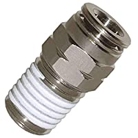 "Utah Pneumatic Push To Connect Fittings Nickel-Plated Brass Pc Male Straight 1/4""Od 1/8""Npt Thread Straight Connect Push Fit Fittings Tube Fittings Pneumatic Fittings 5 Pack (1/4od1/8npt Brass) 5 pack"