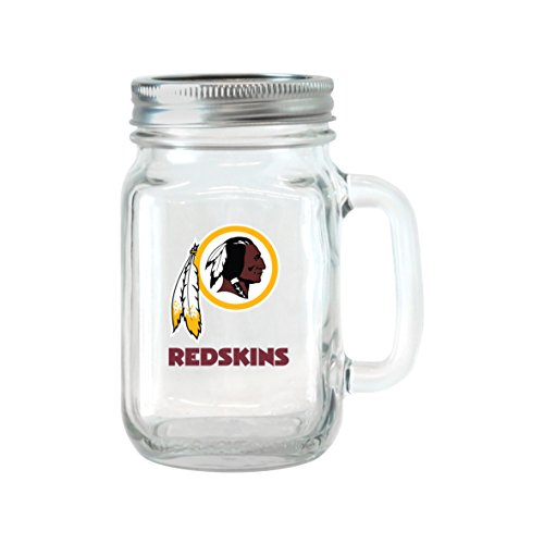 Boelter Brands NFL Washington Redskins Glass Mason Jar with Lid, 16-Ounce, 2-Pack