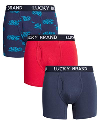 Lucky Brand Mens 3 Pack Cotton Stretch Boxer Briefs (Large, Dress Blue/Red)