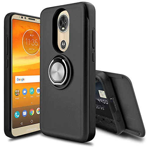 Leptech Ring Holder Series Slider Card Slot Compatible with Motorola Moto E5 Plus Case/Moto E5 Supra Case (Black)