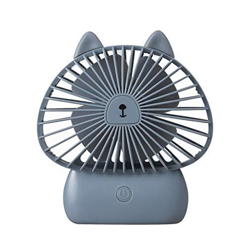 - telaite Portable Cartoon USB Charging Big Wind Night Light Desktop Mini Handheld Fan(Gray)