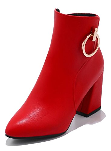 Stacked Toe Short High Women's Heel Booties Pointed Ring Metallic With Dressy Zip Red Inside Ankle Aisun Zipper Up Sexy Boots SxzOwF