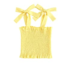3f84a3c9ea3 Romwe Women's Neon Frill Trim Strap Shirred Smock Crop Top Vest Tank Cami  Bright-Yellow. Back. Double-tap to zoom. Color: Bright_yellow