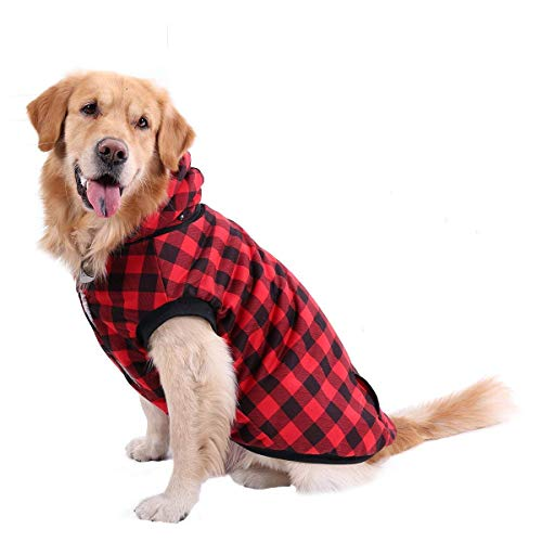 PAWZ Road Dog Plaid Shirt Coat Hoodie Pet Winter Clothes Warm and Soft for Medium and Large Dog Red XL