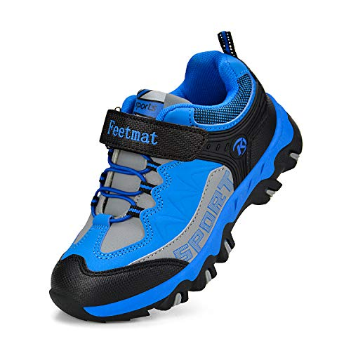 QANSI Boys Shoes Waterproof Little Kids Strap Tennis Shoes Athletic Trail Running Hiking Shoes Blue 12.5]()