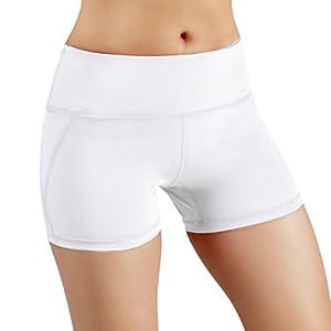 ODODOS Power Flex Yoga Shorts for Women Tummy Control Workout Running Shorts Pants Yoga Shorts With Hidden Pocket, White, Large