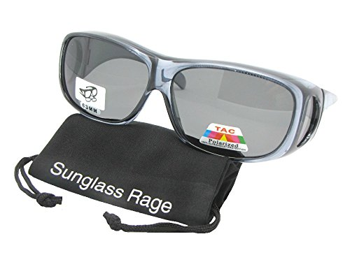 Style F1 Medium Fit Over Sunglasses With Sunglass Rage Pouch (Clear Frame-Gray lenses, 2 5/8 - F1 Sunglasses