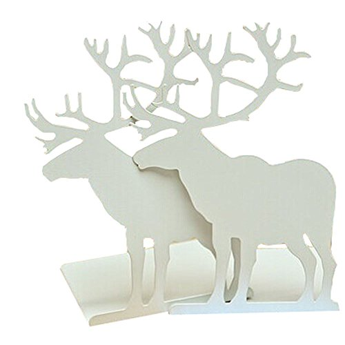Creative Vintage Iron Metal Heavy Nonskid White Elk Moose Animal Bookends Home Office Workplace Supply Decoration Gift