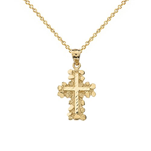 Solid 14k Yellow Gold Nugget Cross Crucifix Religious Pendant Necklace (Small), 20