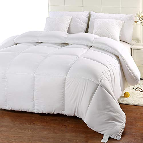Hotel Collection Quilted Sham - Utopia Bedding Comforter Duvet Insert - Quilted Comforter with Corner Tabs - Box Stitched Down Alternative Comforter (King, White)