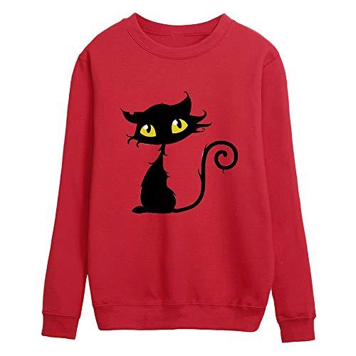 Clearance Sale ! Kshion 2018 Women's Japanese Harajuku Fashion Winter Blouse T-Shirt Round Neck Long Sleeve Sweatshirt Tops (Red, L)