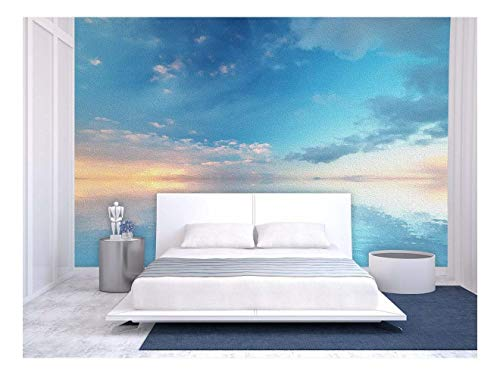 Large Wall Mural Oil Painting Style Landscape with Blue Sky Reflected on Calm Ocean at The Sunset Vinyl Wallpaper Removable Wall Decor