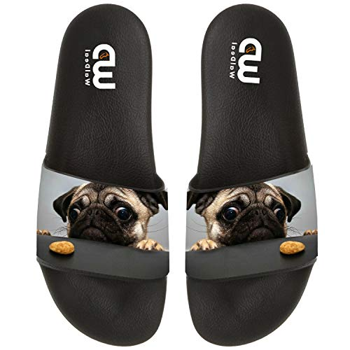 - funny puppy pug dog with cookie Summer Slide Slippers For Women Indoor Bathroom Sandal Shoes size 8