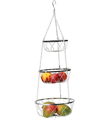RSVP 3-Tier Hanging Fancy Chrome Wire Fruit Basket by RSVP