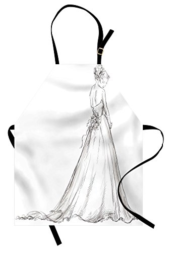 Ambesonne Bridal Apron, Fairytale Ending of a Love Story Princess Sketchy Bride with Flowers Image, Unisex Kitchen Bib Apron with Adjustable Neck for Cooking Baking Gardening, Black and White -