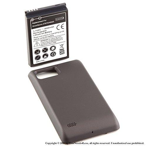 YN4L® 4000mAh extended battery for Motorola Droid Bionic Targa 4G XT875 + Black cover + Dock Charger