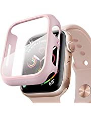 pzoz Compatible Apple Watch Series 4 Case with Screen Protector 40mm Accessories Slim Guard Thin Bumper Full Coverage Matte Hard Cover Defense Edge for Women Men New Gen GPS iWatch (Pink)