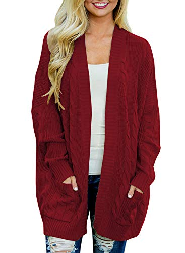 Doballa Women's Open Front Chunky Cable Knit Twisted Cardigan Sweater Coat With Pocket (S, Wine Red) (Cardigan Sweater Marled)