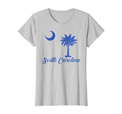 South Carolina State Tree - Womens South Carolina State Flag Shirt Crescent Moon Palmetto Tree Large Silver