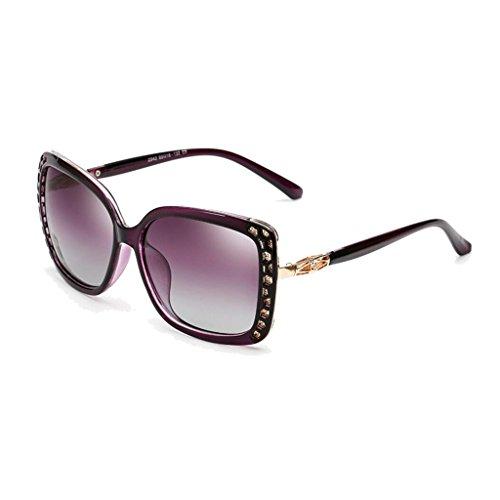 WLHW Explosion calientes de al Black Retro blue Gafas Gafas ice sol de Genuine frame Polarizadas libre UV frame gray Color aire Purple femeninas Models sol Big Lens Juego Frame UV Eye PYPqr5w