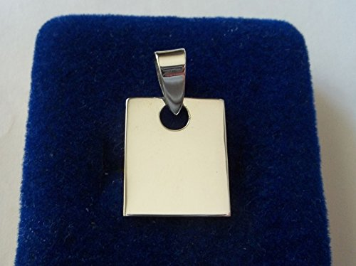 Sterling Silver 18x14mm 2.5gram Engravable Rectangle Tag with Large Bale Charm!! Jewelry Making Supply, Pendant, Charms, Bracelet, DIY Crafting by Wholesale Charms