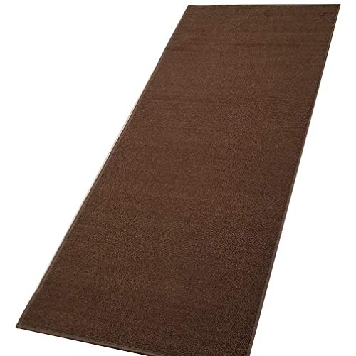 (Custom Size Runner Brown Solid Single Color Plain Non-Slip (Non-Skid) Rubber Back Stair Hallway Rug by Feet 31 Inch Wide Select Your Length)