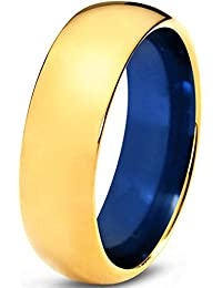 Tungsten Wedding Band Ring 8mm for Men Women Blue 18k Yellow Gold Domed Polished Lifetime Guarantee