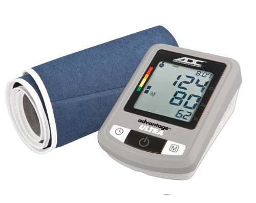 - ADC Advantage Ultra 6023N Automatic Digital Blood Pressure Monitor with Storage Case, BHS AA Rated, Extra-Wide-Range Adult Navy BP Cuff