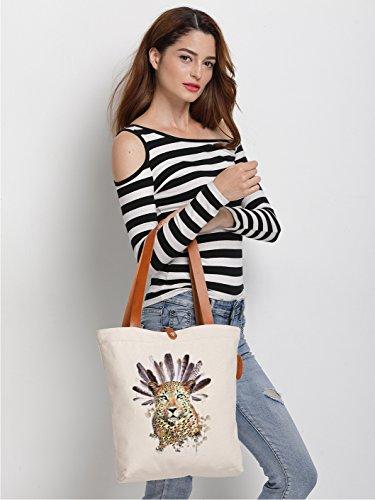 IN.RHAN Women's Feather Leopard Canvas Tote Bag Casual Shoulder Bag Handbag