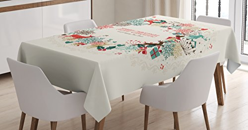 Ambesonne Christmas Decorations Tablecloth, Vintage Garland