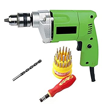 ADITYA INFO Combo of Metal Drill Machine with 31 Pieces Tool Kit and Masonry Bit, 10mm