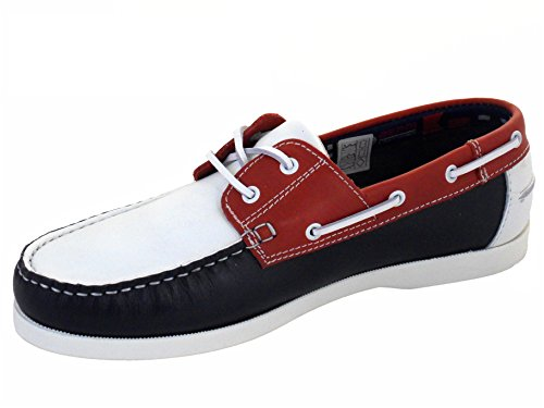 Beppi Men's Portuguese Made Red White Blue Leather Deck Shoes kgVL1q
