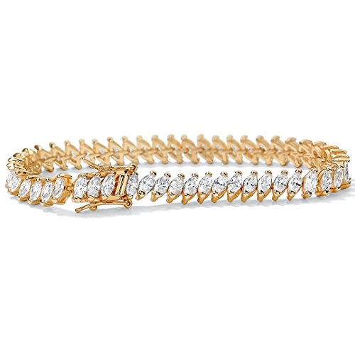 14K Yellow Gold-Plated Marquise Cut Cubic Zirconia Tennis Bracelet with Box Clasp, 7.5 - 14k Marquise Bracelet