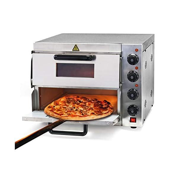 Forno per pizza professionale con doppia camera in acciaio inox, 3000W, 350°C Fornetto elettrico 1