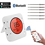 remote bbq thermometer iphone - Meat Thermometer, Bluetooth Wireless Digital Grill Thermometer,Smart BBQ Thermometer with 6 Upgraded Stainless Steel Probes, APP Remote Alarm Monitor for Grilling, Smoker Oven BBQ and Cooking