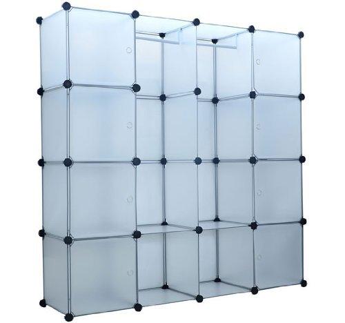 Modular Closet (HomCom Extra Wide Modular Portable Storage / Clothes Closet with 8 Enclosed Cubes, (14.5 x 58.8 x)