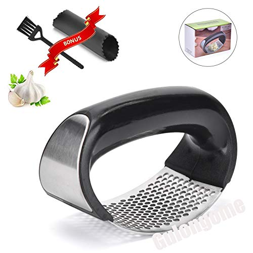 Gulongome Gralic Press Rocker Stainless Steel Ginger Crusher Squeezer and Peeler Kitchen Tool Set,Silicone Tube Peeler Cleaning Brush Offered Free -