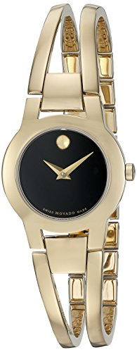 Museum Dial Stainless Bracelet (Movado Women's Swiss Quartz Gold-Plated Casual Watch (Model: 0606946))