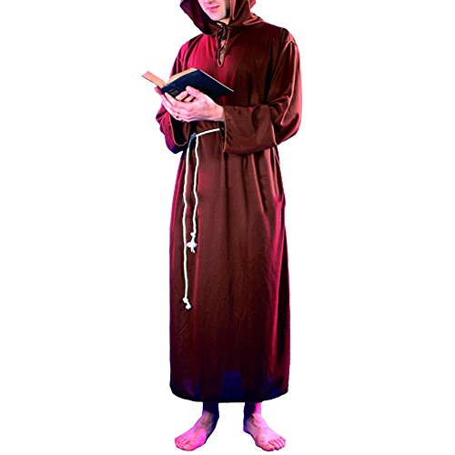 [LETSQK Friar Jesus Monk Missionary Priest Robe Tunic Cloak Party Halloween Costume Coffee] (Missionary Costumes)
