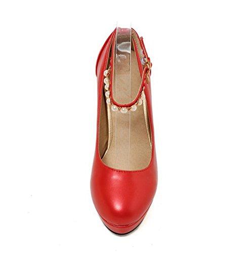 AllhqFashion Damen PU Leder Eingelegt Schnalle Rund Zehe Hoher Absatz Pumps Schuhe Rot