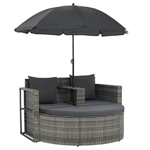 Canditree Outdoor Daybed with Umbrella, Chaise Loungue Rattan with Cushions for 2 Person, Pool Lounge Chair Gray (Chaise Loungue)