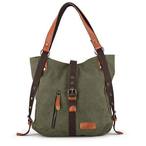 SHANGRI-LA Purse Handbag for Women Canvas Tote Bag Casual Shoulder Bag School Bag Rucksack Convertible Backpack - Green