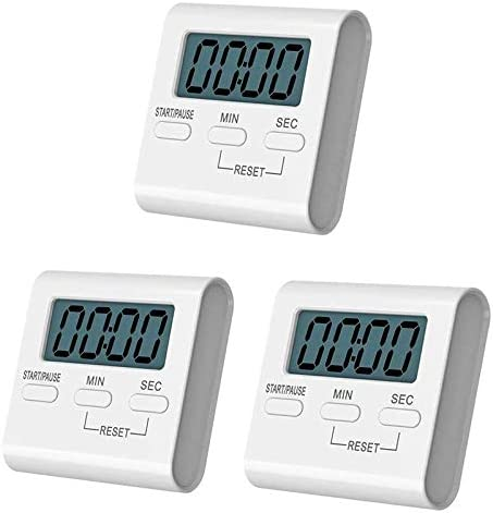 Loud Alarm Xigeapg 3 Pack Digital Kitchen Timer,Small Cooking Timer,Big Digits On//Off Switch,Count-Up /& Count Down for Cooking Baking Sports Memory Function Strong Magnet Backing