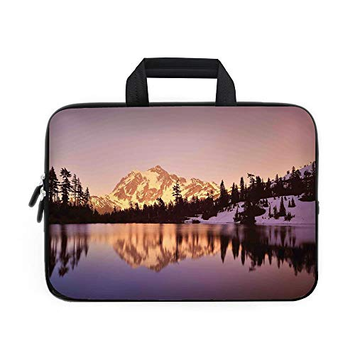 - Lake House Decor Laptop Carrying Bag Sleeve,Neoprene Sleeve Case/Snow Capped Mt Shuksan and Lake at Sunset Evening View National Forest Washington/for Apple Macbook Air Samsung Google Acer HP DELL Len