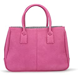 Hoxis Classical Office Lady Minimalist Pebbled Faux Leather Handbag Tote/ Magnetic Snap Purse(Hot Pink)