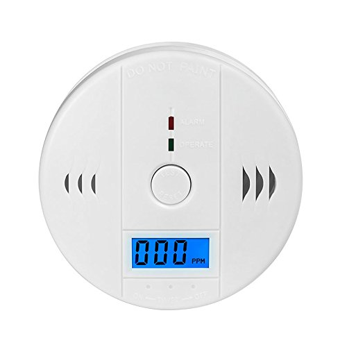 MIXSight Carbon Monoxide Detector CO Alarm Detector with LCD Digital Display Battery Operated, White, 1-Pack
