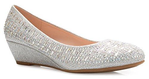 OLIVIA K Women's Close Round Toe Low Wedge Glitter Rhinestone Comfort Silver