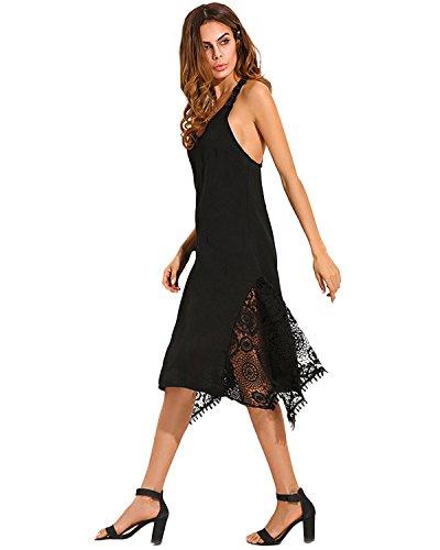 StyleDome Irrgulire Nu Noir Coton Col sans Manches Cocktail Tunique Plage Robe Dos Casual Rons Asymtriques de Robe Femme SSFwRrqBU