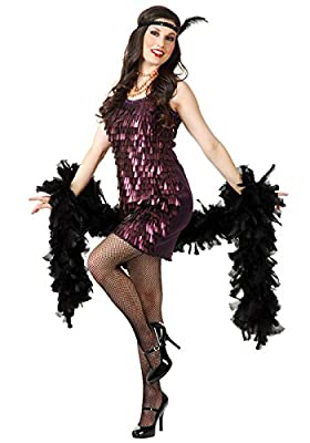 Charades Sexy Womens Black 20s Flapper Cabaret Halloween Costume Dress