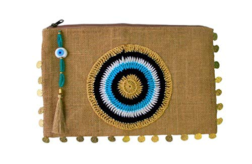- Evil Eye Jute/Burlap Clutch Bag Beach bag Zipper Gift with Crystals and Tassels